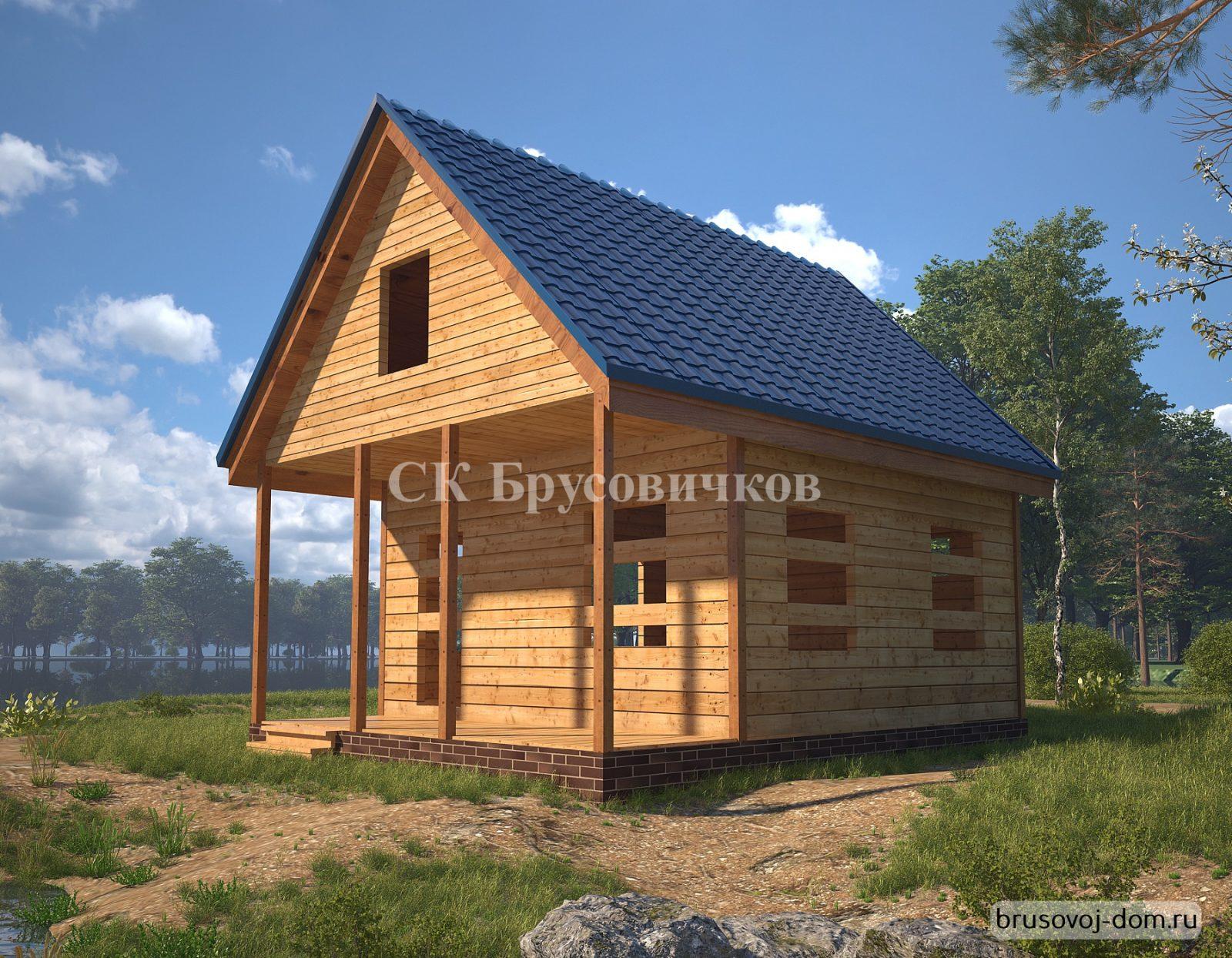 Дом из  бруса под усадку Бокситогорск 6х7.5 м