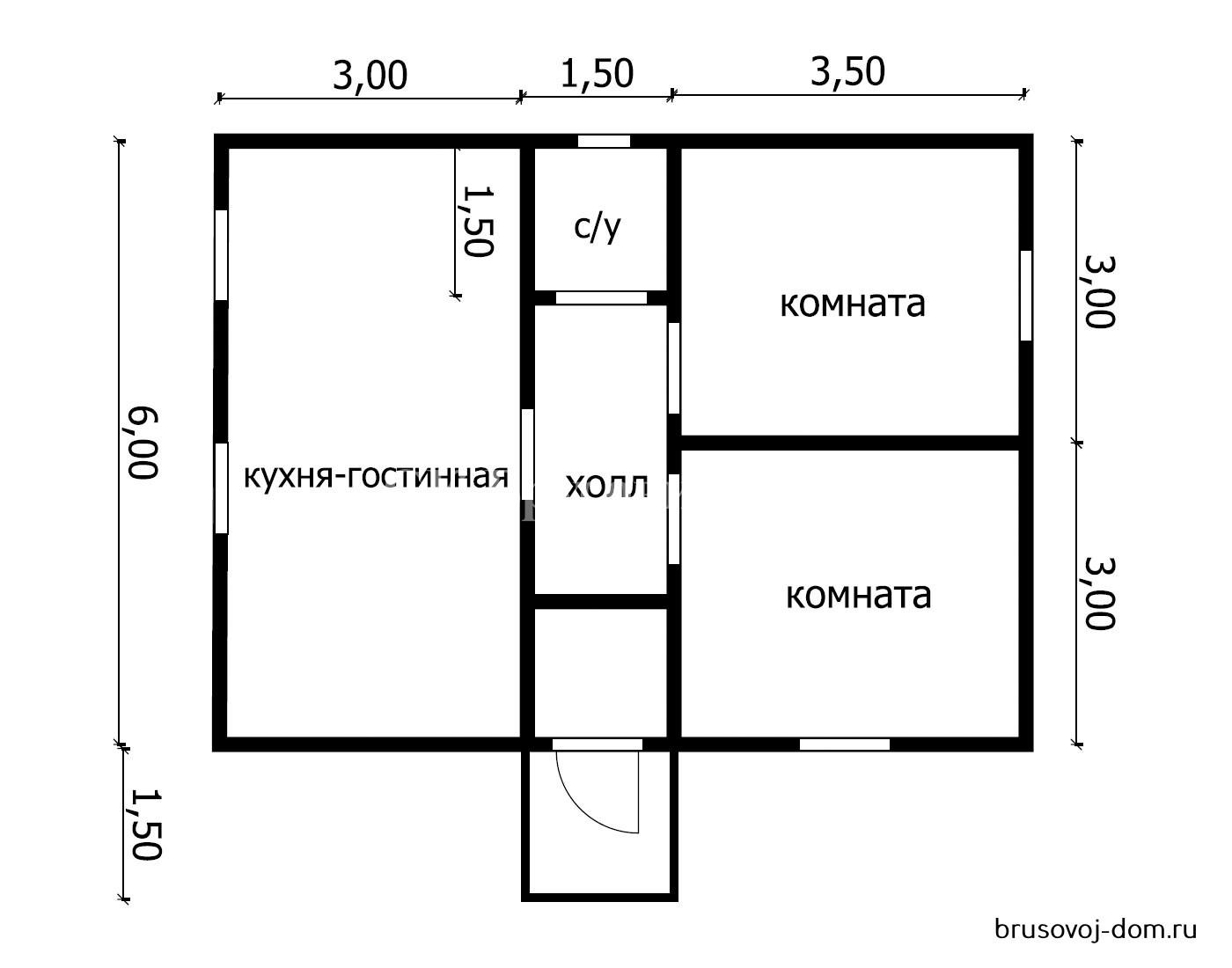 Дом из бруса под  усадку 6х8 м Колтуши