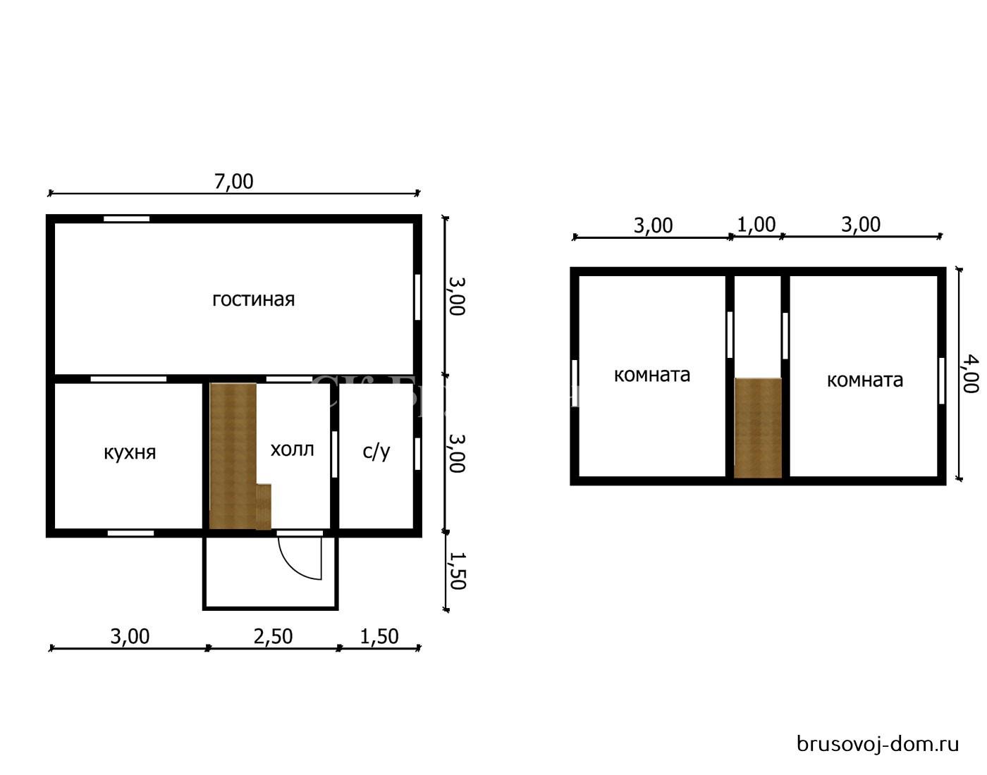 Дом из бруса под усадку 6х7  м  Мга
