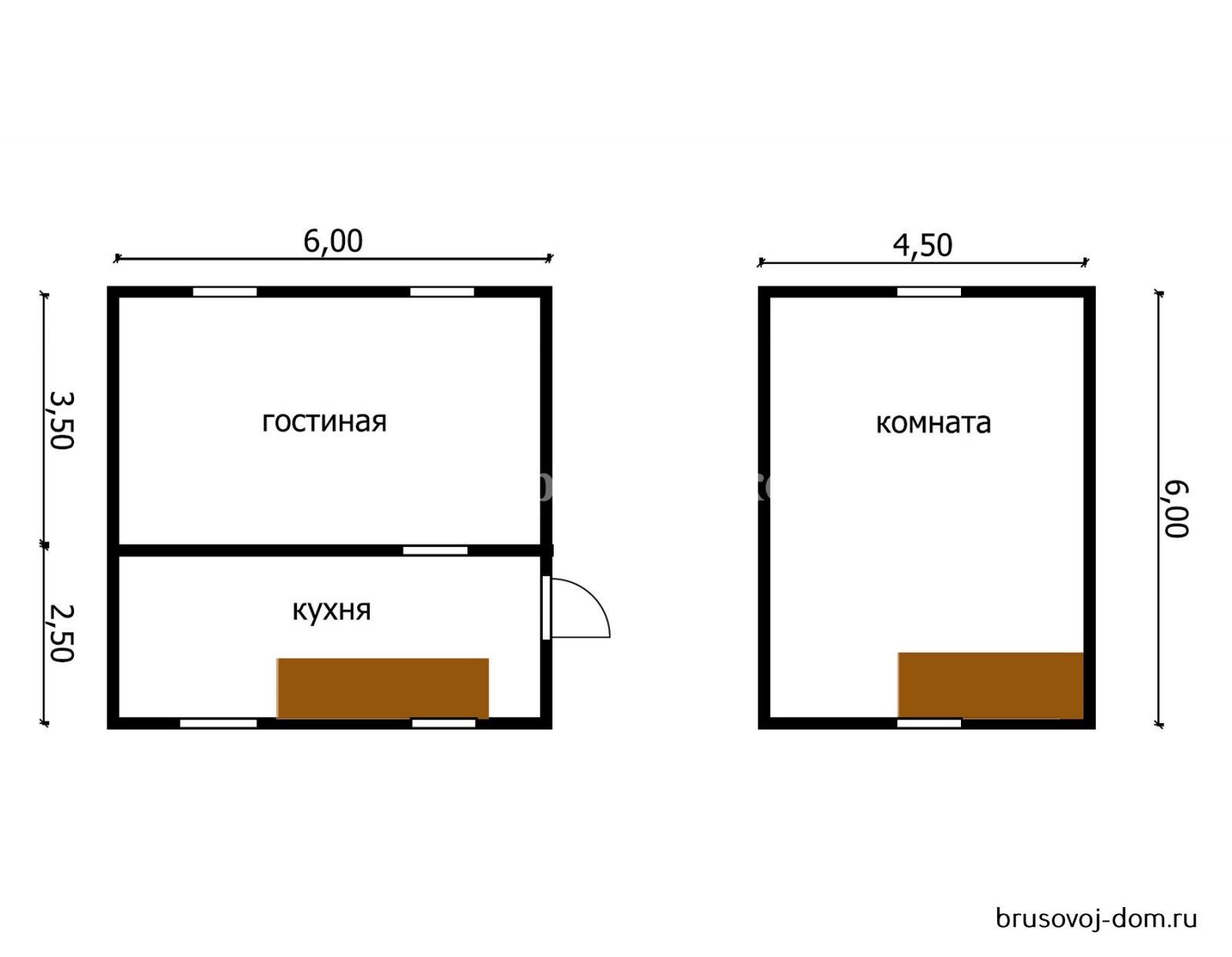 Дом из бруса 6х6 м под усадку Тихвин