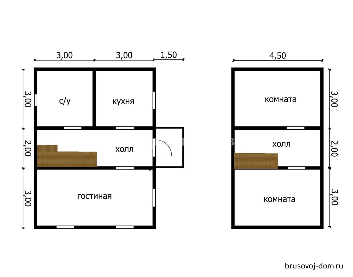 Дом из бруса под усадку 6х8 м Высоцк