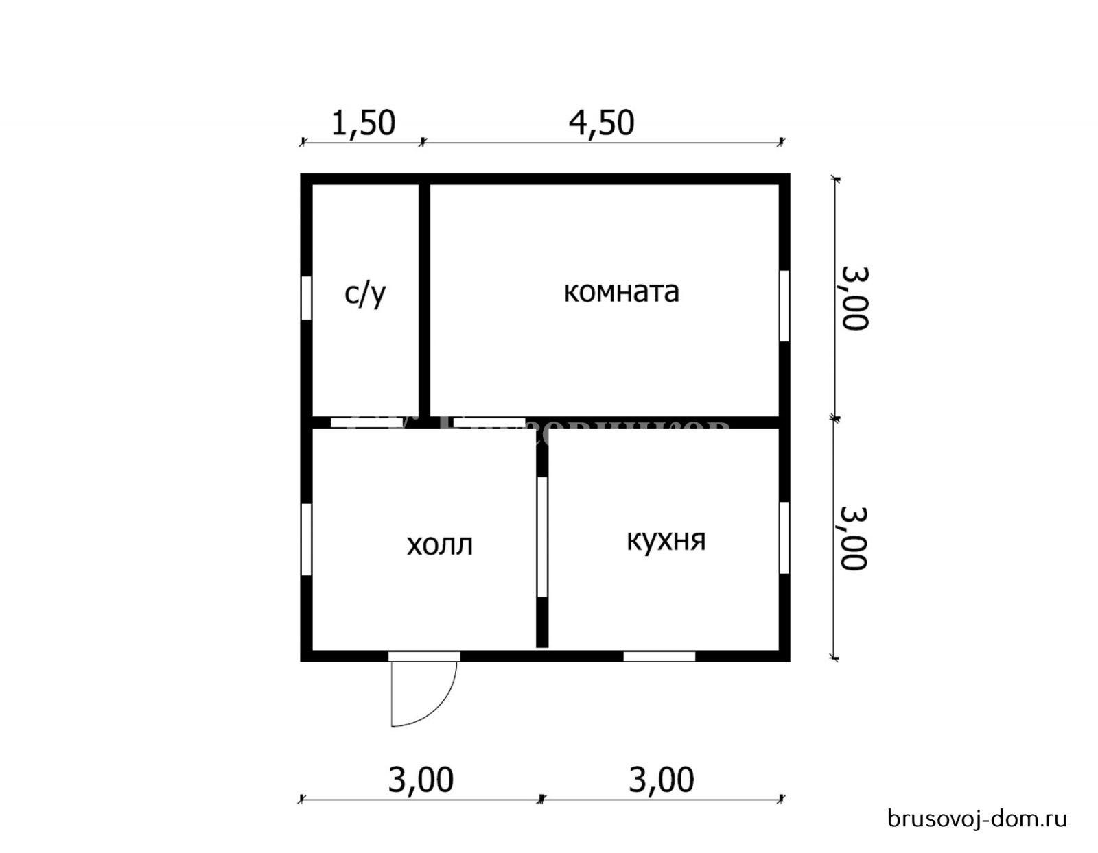 Дом из  бруса 6х6 м под усадку Волхов