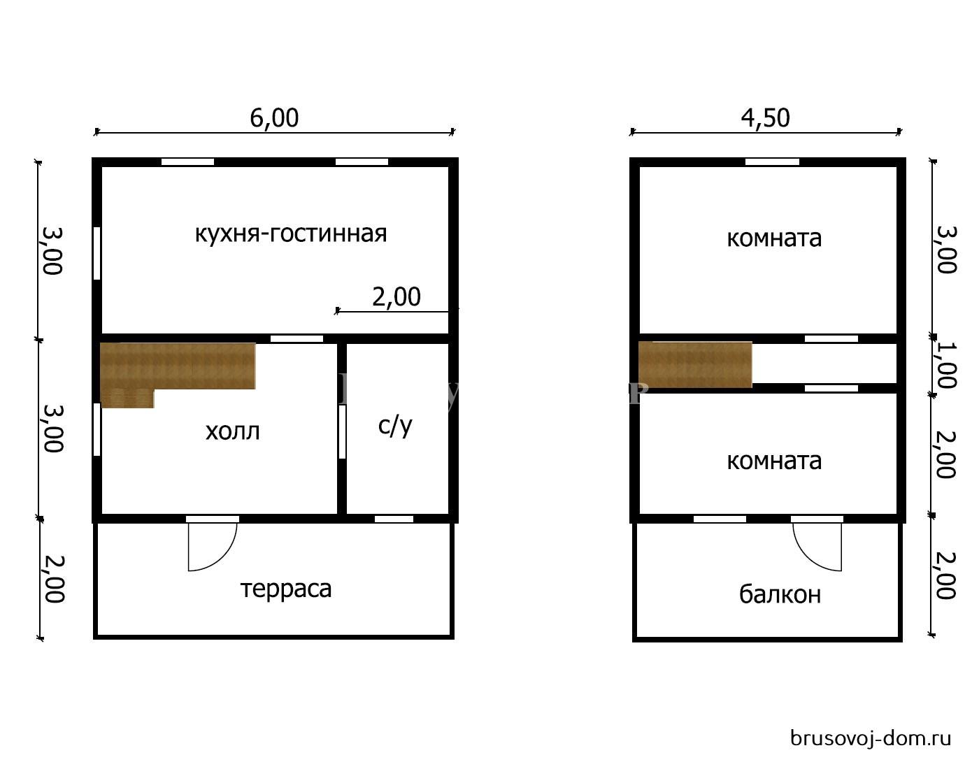 Дом из  бруса под усадку 6х8 м Зеленогорск