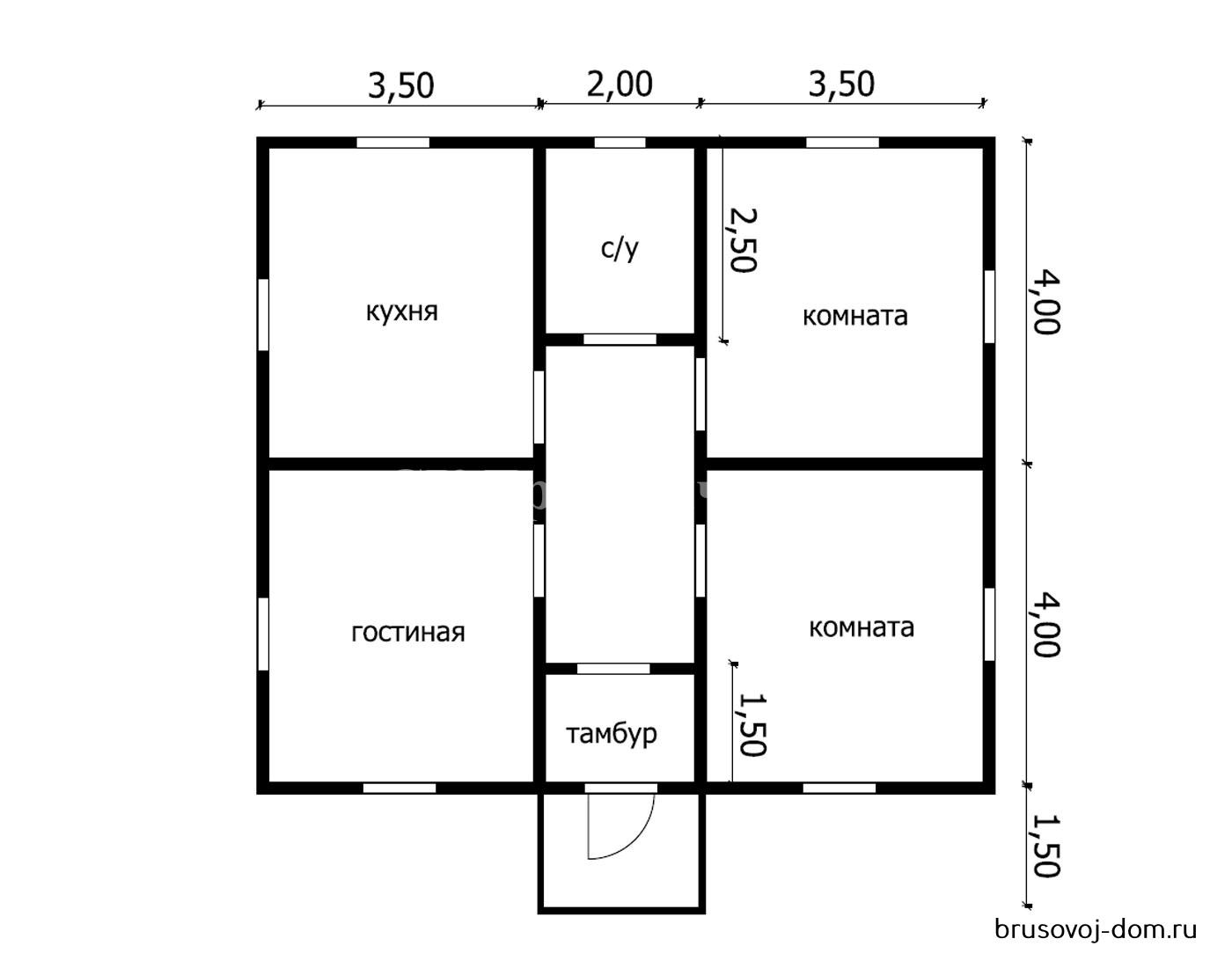 Одноэтажный дом под  усадку 8х9 м Ладога